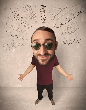 exaggeration: Funny guy with big head and drawn curly lines over it