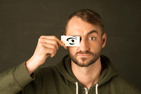funny guy: Dr�le de type avec le signe censur� concept de papier Banque d'images