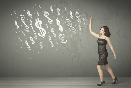 dollar signs: Young business people with hand drawn dollar signs concept Stock Photo