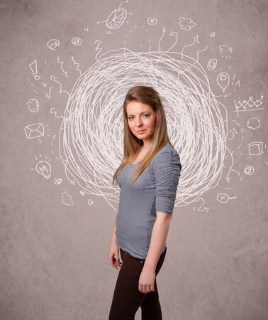 Pretty young girl with abstract circular doodle lines and icons photo