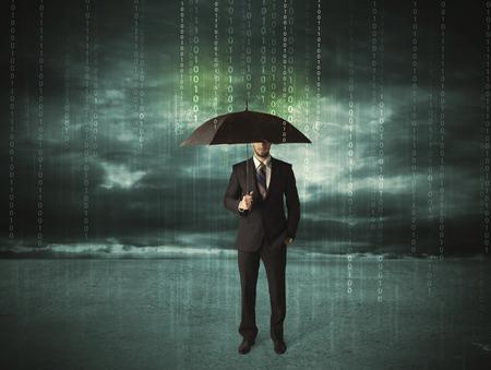 tormenta: Hombre de negocios de pie con paraguas concepto de protección de datos en el fondo