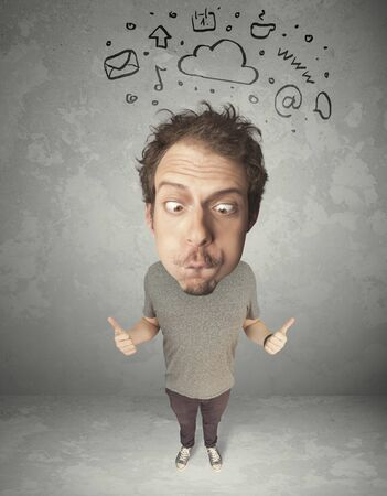gladness: Funny guy with big head and drawn social media marks over it Stock Photo
