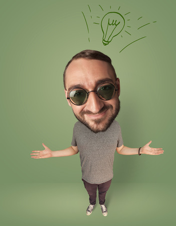 funny glasses: Funny person with big head and drawn idea bulb over it