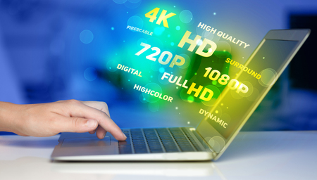 fullhd: Man choosing display resolution concept Stock Photo