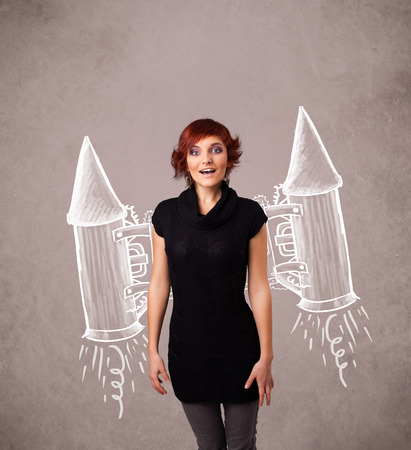 Cute young girl with jet pack rocket drawing illustration photo