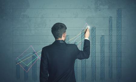 Üzletember rajz táblázatot a falra Stock fotó