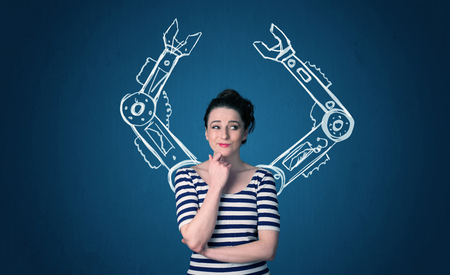 robot woman: Pretty young woman with robotic arms concept Stock Photo