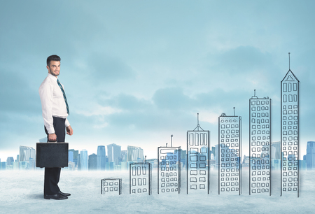 difficult to find: Business man climbing up on hand drawn buildings in city concept Stock Photo