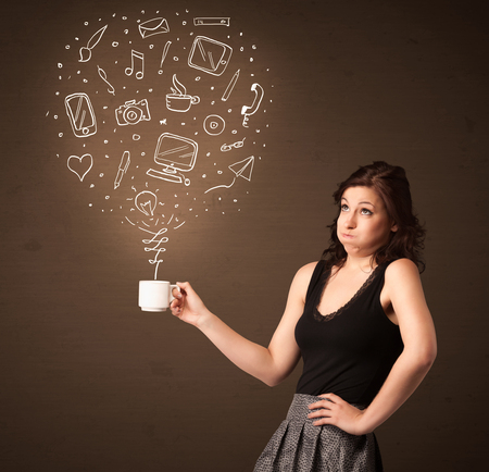 drown: Businesswoman standing and holding a white cup with drown social media icons coming out of the cup Stock Photo