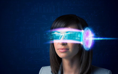VIRTUAL REALITY: Woman from future with high tech smartphone glasses concept Stock Photo