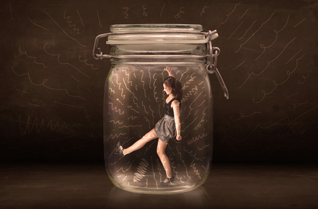 suffocating: Businesswoman inside a jar with powerful hand drawn lines concept on bakcground