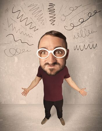 merriment: Funny guy with big head and drawn curly lines over it