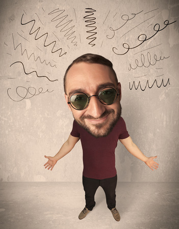 gladness: Funny guy with big head and drawn curly lines over it
