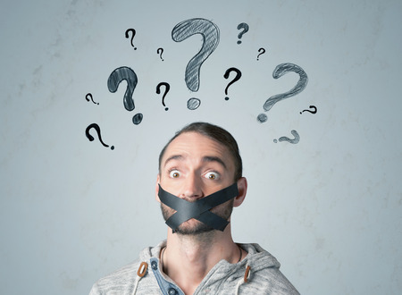 sellotape: Young man with taped mouth and question mark symbols around his head