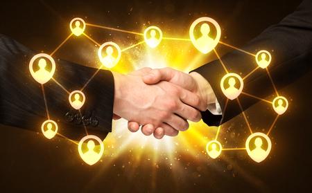 global partnership: Business handshake, Social media concept