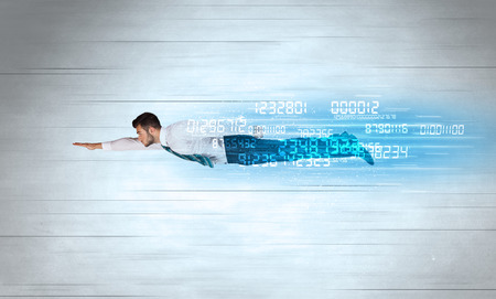 fast: Businessman flying super fast with data numbers left behind concept