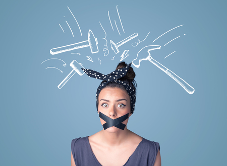 sellotape: Young woman with taped mouth and white drawn beating hammer marks around her head