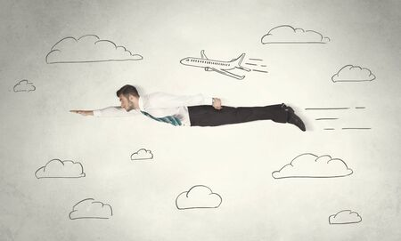 happy business man: Cheerful business person flying between hand drawn sky clouds concept on background