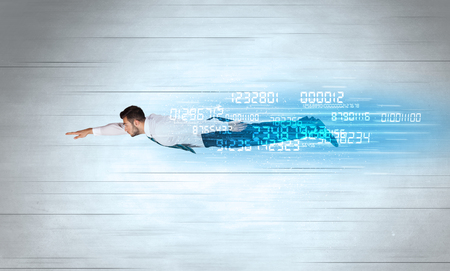 left behind: Businessman flying super fast with data numbers left behind concept