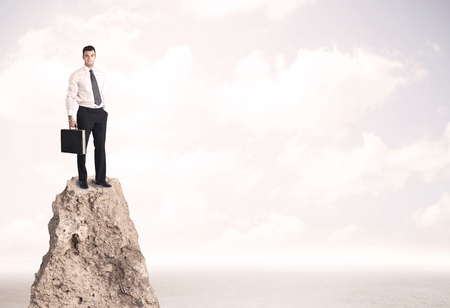 sales person: Successful sales person with brief case standing on top of a mountain cliff edge looking above the landscape between the clouds