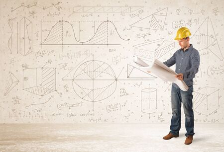 young add: Handsome engineer calculating with hand drawn background concept