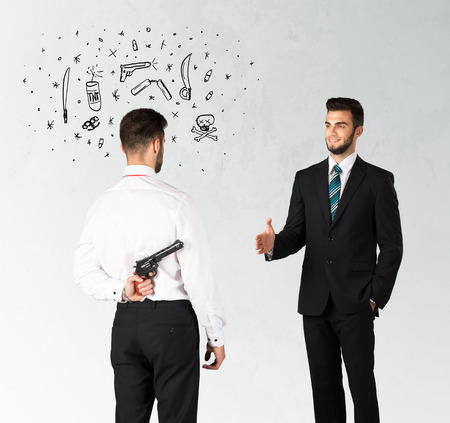 immoral: Ruthless businessman handshake with hiding a weapon and weapon symbols around his head