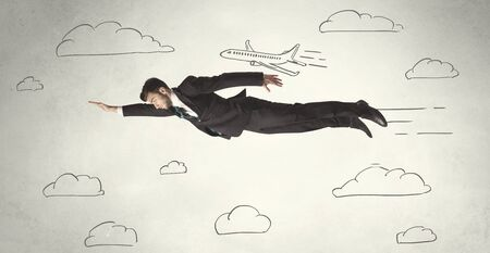 business flying: Cheerful business person flying between hand drawn sky clouds concept on background