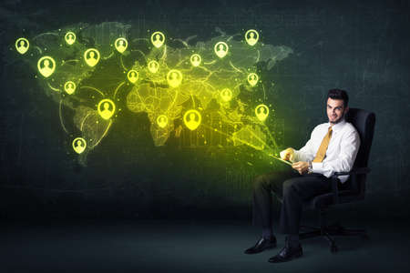 internet globe: Businessman in office with tablet and social network world map concept on background