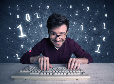 obsessive: A funny hacker working hard on online passcode scanning and solving passwords with 0 1 numbers illustration in background concept Stock Photo