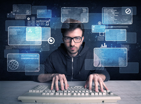 A confident young hacker working hard on solving online password codes concept with a computer keyboard and illustrated digital screen, numbers in the background Stock Photo - 49498388