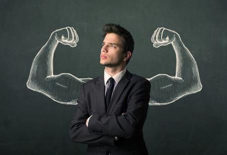 hombre fuerte: Hombre de negocios joven preguntándose con brazos fuertes y musculosos de boceto