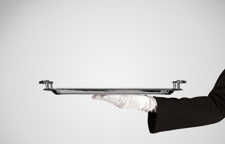 An elegant waiter business hand in white glove holding an empty plate with grey blank gradient background.