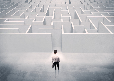 Egy jóképű üzletember, aktatáska, álló, elülső, fehér labirintus bejárata mintegy dönteni koncepció