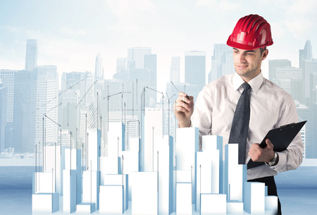 angles: A happy construction worker drawing a city with white, plain buildings, using arrows and angles