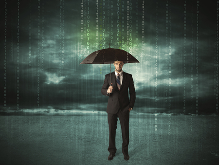 internet concept: Business man standing with umbrella data protection concept on background