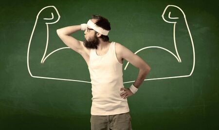 would: A young man with beard and glasses posing in front of green background, imagining how he would look like with big muscles, illustrated by minimalist white drawing concept.