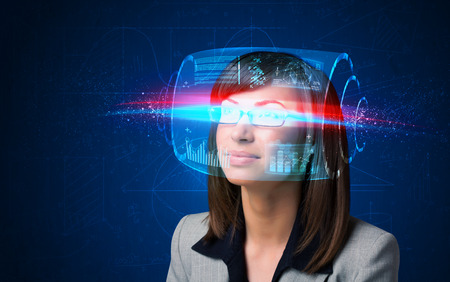 high tech: Woman with high tech smart glasses concept Stock Photo
