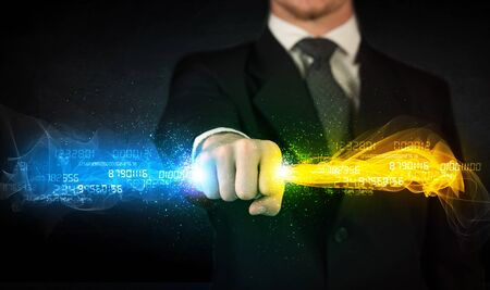 program code: Man holding colorful glowing data in his hands concept