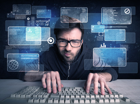 A confident young hacker working hard on solving online password codes concept with a computer keyboard and illustrated digital screen, numbers in the background Foto de archivo