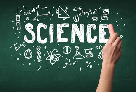 green chalkboard: A teacher writing science, drawing chemistry elements on clean green chalkboard by hand