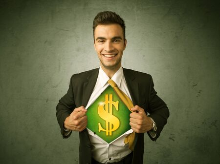 dollar signs: Businessman tearing off his shirt with dollar sign on chest concept on background