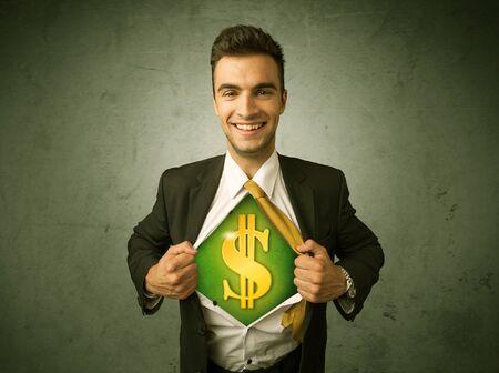 signos de pesos: Empresario arrancando la camisa con signo de dólar en concepto de pecho en el fondo