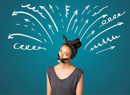 sellotape: Young woman with taped mouth and white drawn lines and arrows around her head