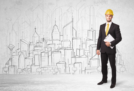 ingenieria industrial: Trabajador de la construcción con el dibujo de fondo paisaje urbano