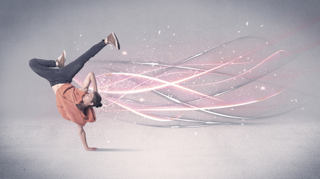 danza contemporanea: A pretty hip hop dancer dancing contemporary dance illustrated with glowing motion lines in the background concept.
