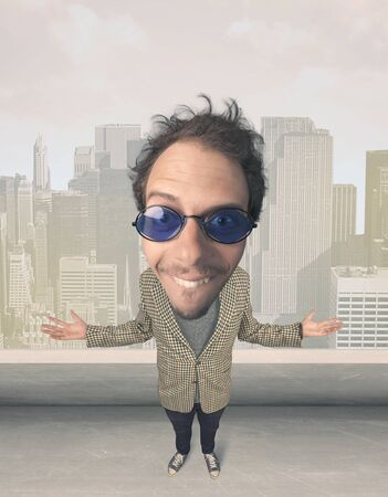 funny guy: Funny guy with big head, cityscape background Stock Photo