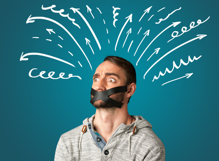 sellotape: Young man with taped mouth and white drawn lines and arrows around his head