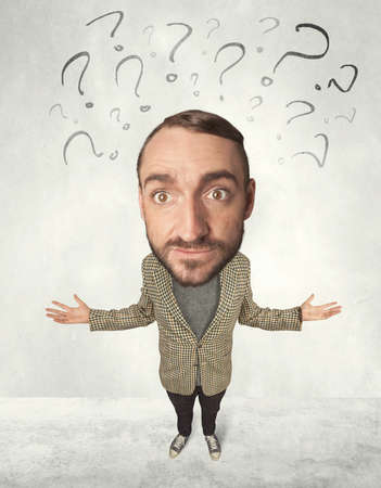 merriment: Funny person with big head and drawn question marks over it