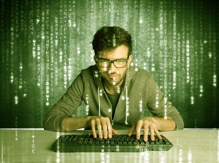 geek: Un pirata inform�tico con talento escanear base de datos de contrase�as en l�nea y la pirater�a mensajes de correo electr�nico de los usuarios con los n�meros, c�digos, cartas que se ejecutan en el concepto de fondo