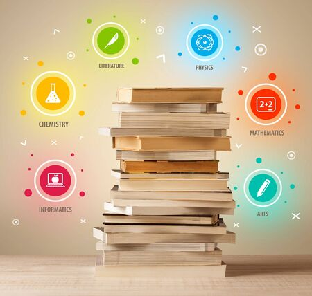 master degree: Books on top with colorful symbols on vintage old background